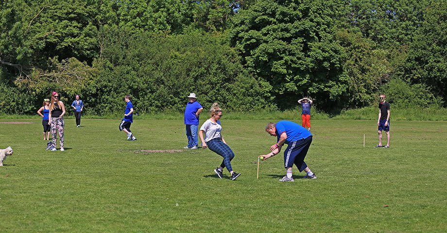 Julie gets run out by Gerry on our Sports Day rounders game