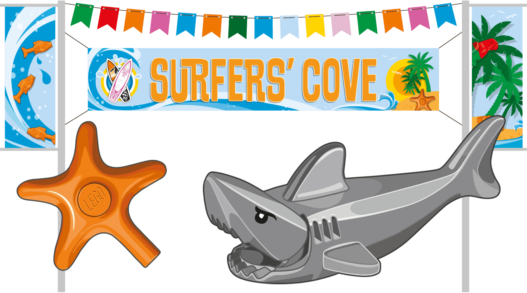 Surfers' Cove flags and banners