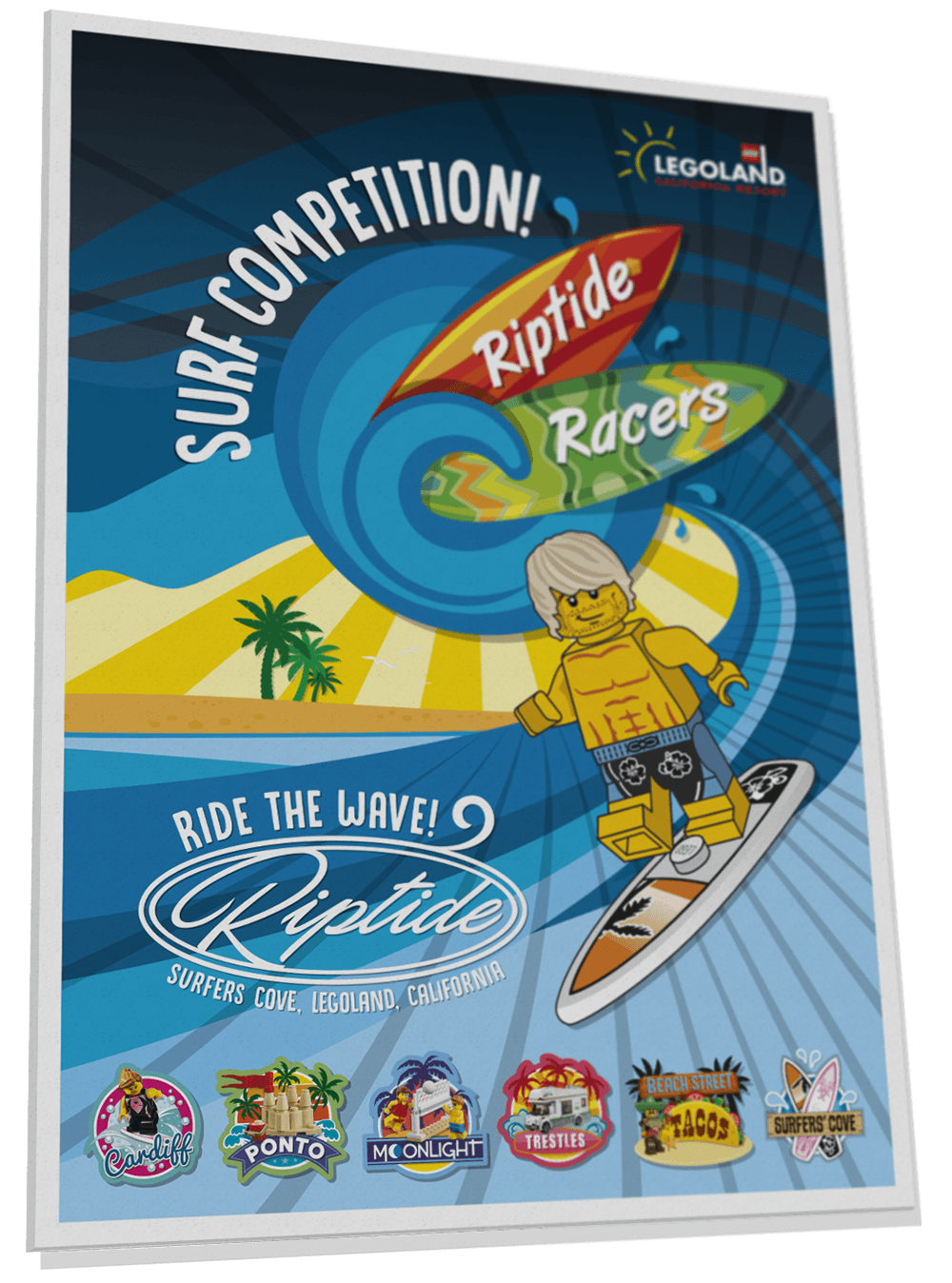 Riptide Racers surfing competition poster for Surfers' Cove