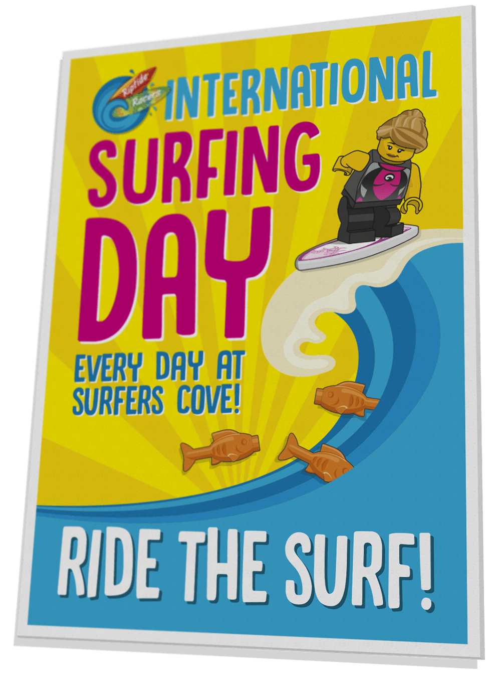 Riptide Racers surfing day poster for Surfers' Cove